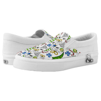 Christmas themed doodles design, kid's drawnings slip on shoes