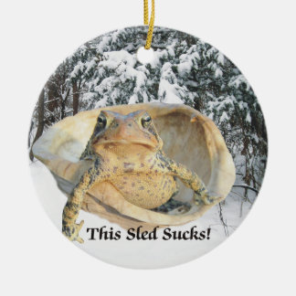 Christmas This Sled Sucks Toad in Turtle Shell Round Ceramic Decoration
