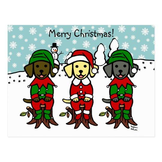 Christmas Three Lab Puppies Postcard