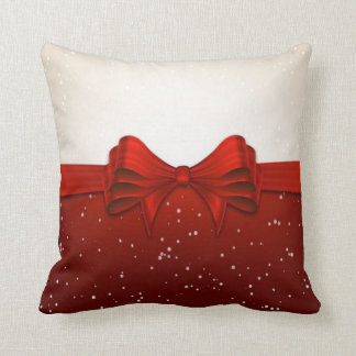 Christmas Throw Pillow/Red Ribbon Cushion