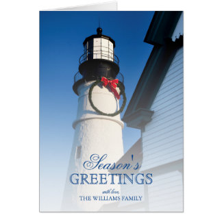 Christmas time at Portland Head Lighthouse Greeting Card