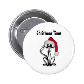 Christmas Time Cat 6 Cm Round Badge
