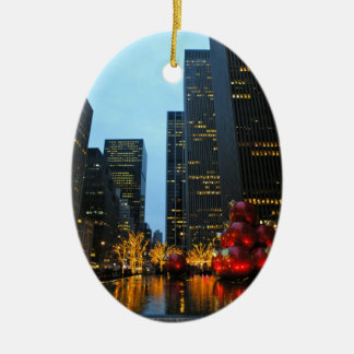 Christmas Time NYC Ceramic Oval Decoration