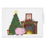 Christmas Time Pig Greeting Card