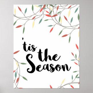 Christmas - 'Tis the Season - White Poster