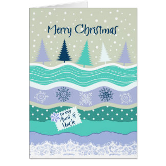 Christmas - to Aunt and Uncle - Trees, Snowflakes Greeting Card