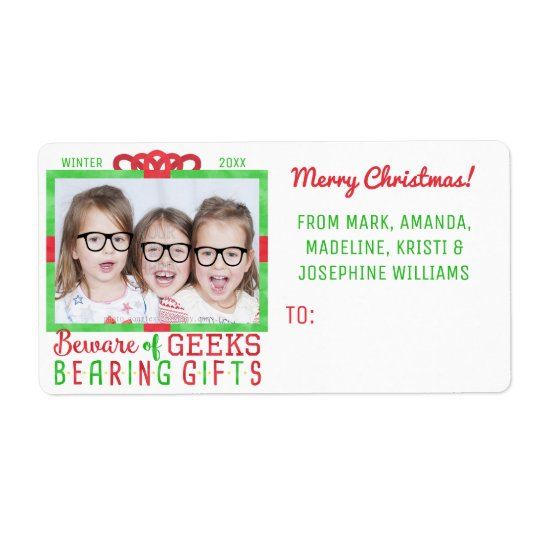 Christmas To From Funny Geek Family Holiday Photo Shipping Label