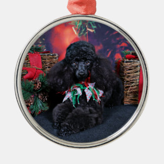 Christmas - Toby - Poodle Silver-Colored Round Decoration