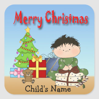 Christmas Toddler Boy Square Stickers