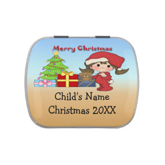 Christmas Toddler Girl Rectangle-Shaped Candy Tin