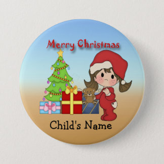 Christmas Toddler Girl Round Button