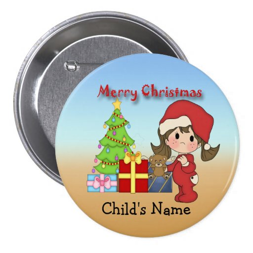 Christmas Toddler Girl Round Button