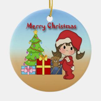 Christmas Toddler Girl Round Ornament