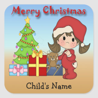 Christmas Toddler Girl Square Stickers