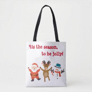 Christmas Tote Bag with Dancing Characters