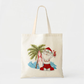 Christmas Tote with Tropical Santa and Surf Board Budget Tote Bag