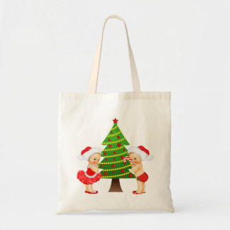 Christmas Tote with Vintage Baby Girl and Boy Budget Tote Bag