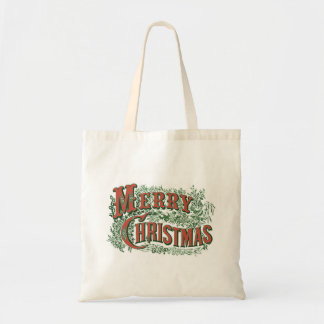 Christmas Tote with Vintage Merry Christmas