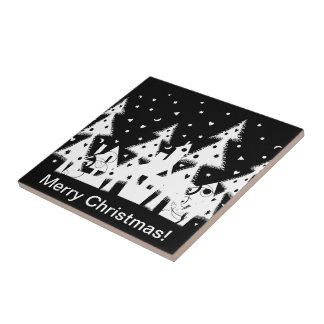 Christmas Town Small Square Tile