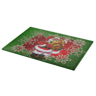 Christmas toys and Santa Glass cutting board