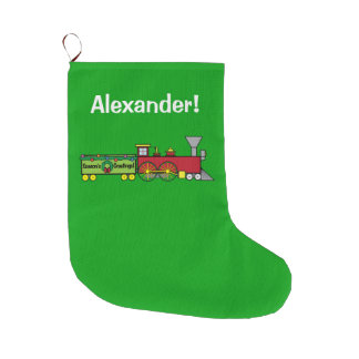 Christmas Train Greetings Name Customizable Large Christmas Stocking