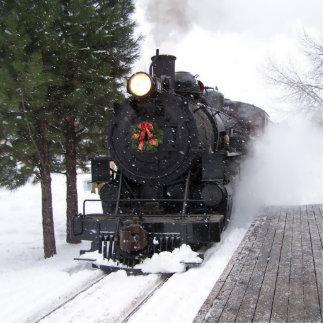 Christmas Train Ornament Photo Sculpture Decoration