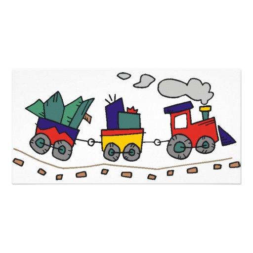 Christmas Train Photo Greeting Card