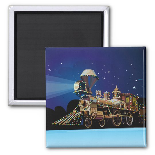 Christmas Train Square Magnet