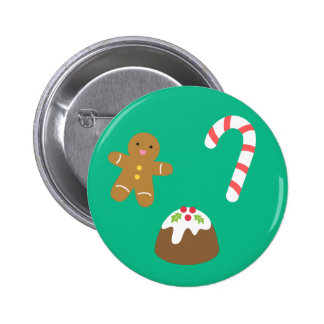 Christmas Treats, Gingerbread Man, Candy, Pudding 6 Cm Round Badge