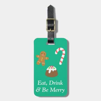 Christmas Treats Gingerbread Man Candy Pudding Travel Bag Tags