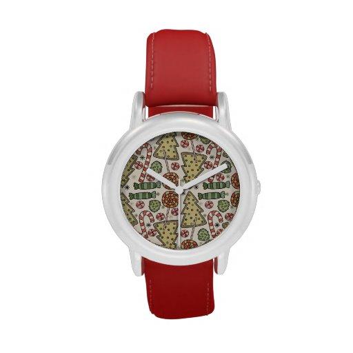 Christmas Treats Holiday Pattern Wrist Watches