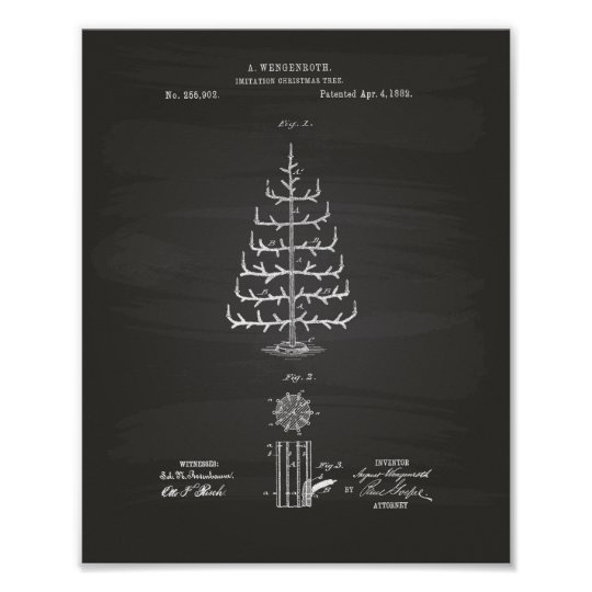 Christmas Tree 1882 Patent Art Chalkboard Poster