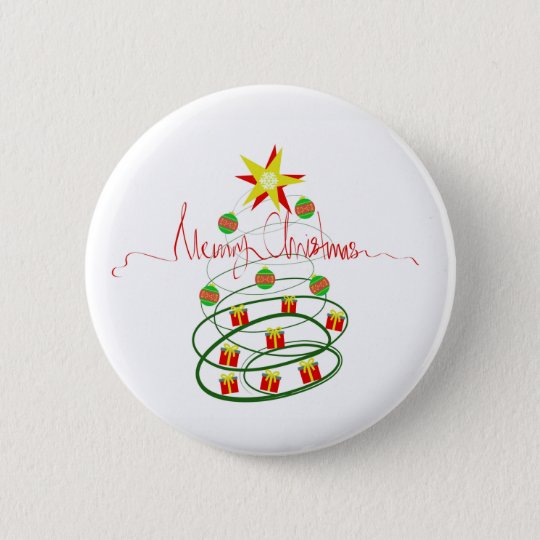 Christmas tree 6 cm round badge