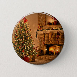 christmas tree 6 cm round badge