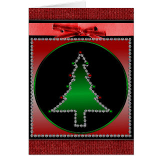 Christmas Tree And Bow Greeting Card
