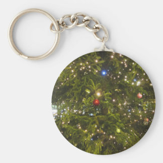 Christmas tree and Christmas decorations Basic Round Button Key Ring