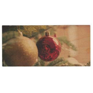 Christmas tree and decoration wood USB 2.0 flash drive