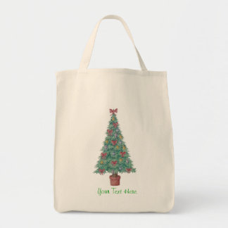Christmas tree and decorations and red bows tote bag