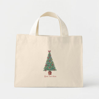 Christmas tree and decorations and red bows mini tote bag