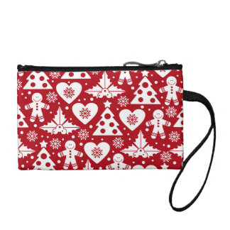 Christmas Tree and Gingerbread Man Pattern on Red Coin Wallet