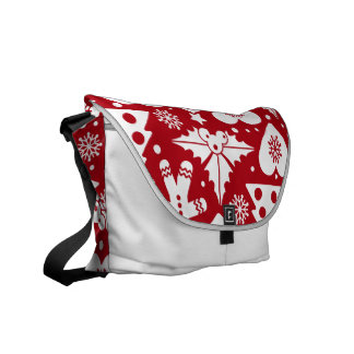 Christmas Tree and Gingerbread Man Pattern on Red Messenger Bag