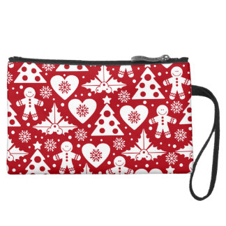 Christmas Tree and Gingerbread Man Pattern on Red Wristlet Purses