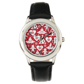 Christmas Tree and Gingerbread Man Pattern on Red Wristwatches
