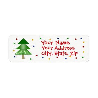 Christmas Tree And Ornament Return Address Label