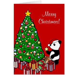 Christmas Tree and Panda Cartoon Greeting Card