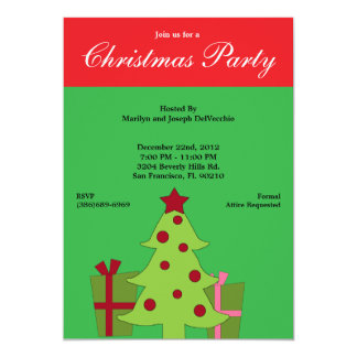Christmas Tree and PINK and RED Holiday Gifts 13 Cm X 18 Cm Invitation Card