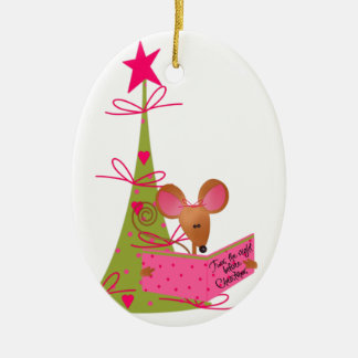 Christmas Tree and Reading Mouse Christmas Ornament