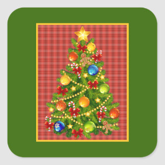 Christmas Tree and Red Plaid Sticker