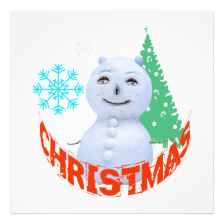 Christmas Tree And Snowman Photo Print