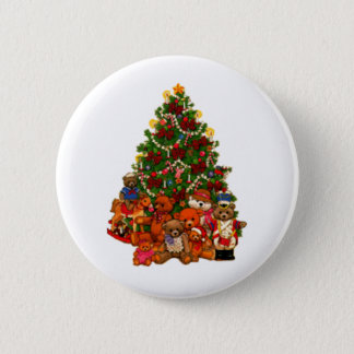 Christmas Tree and Teddy Bears 6 Cm Round Badge